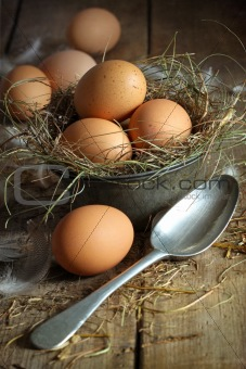Fresh brown eggs in old tin container with spoon