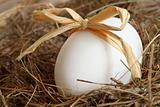 White egg with bow on straw