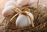 White egg with straw bow in nest on wood