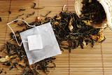 Teabag with Empty Label on Lose Green Tea