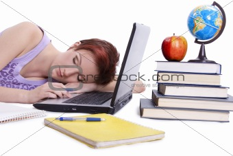 Fall asleep girl done her homework
