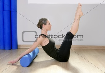 blue foam roller pilates woman sport gym fitness yoga
