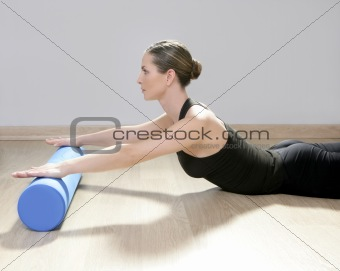 blue foam roller pilates woman sport gym fitness yoga