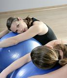 aerobics mirror relax woman pilates stability ball