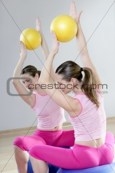 mirror pilates gym woman stability ball sport gym