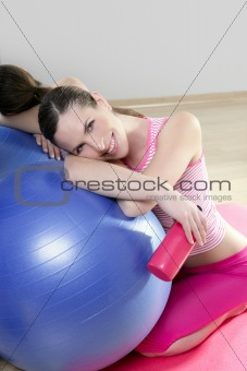 aerobics woman pilates ball relax water bottle smiling