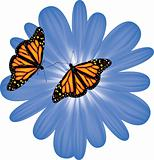 vector butterflies on a blue flower