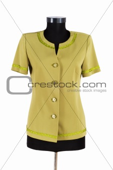 Green jacket isolated on the white background
