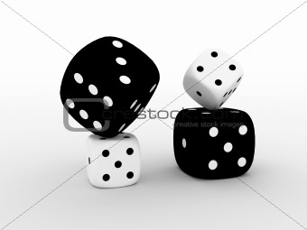 4 black and white playing cube's