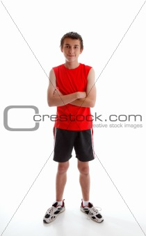 Boy teenager wearing sports gym clothing