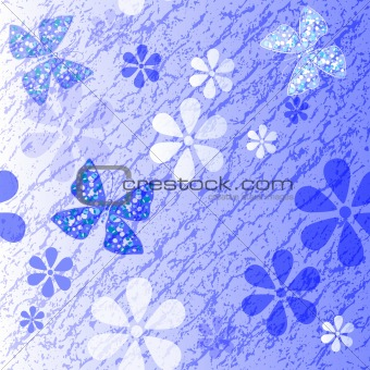 White and blue floral pattern