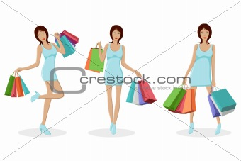 Urban Lady with Shopping Bag