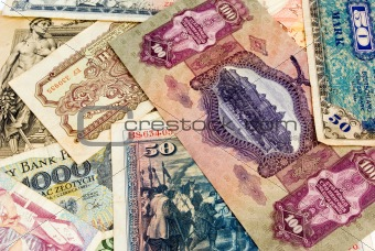 old European banknotes background