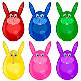 Six Colored Happy Easter Bunny Eggs