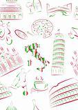 Italian sights and symbols seamless.
