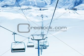 Ski lifts on the bright winter day