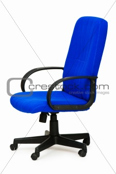 Blue office chair isolated on the white