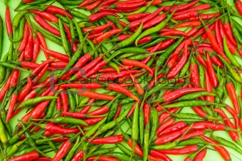 Background made of green and red peppers