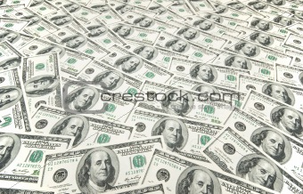 Background with many american hundred dollar bills