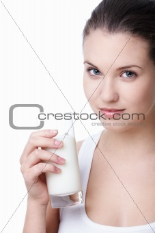 Young girl with milk