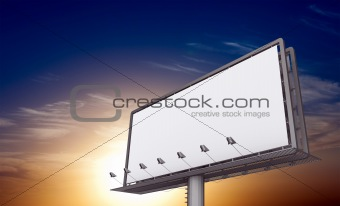 Billboard against sunset