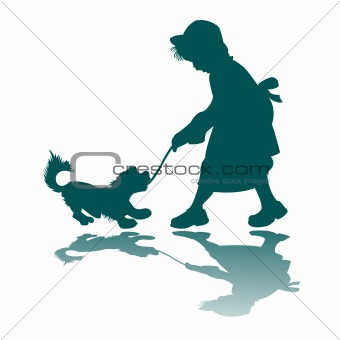 little girl and dog silhouette