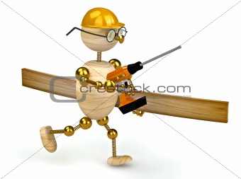 3d wood man with a drill
