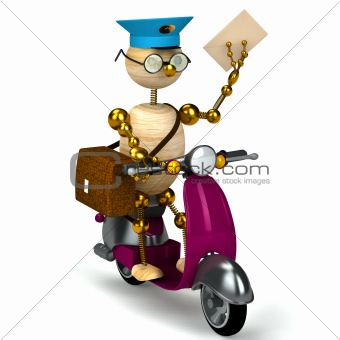 3d wood postman is riding on moped