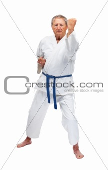 Senior man practicing karate