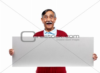 Old man holding a blank bill board