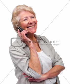 Pretty old lady talking on cell phone