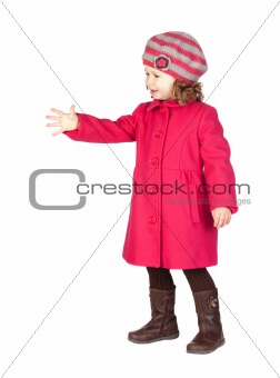 Smiling baby girl with pink coat