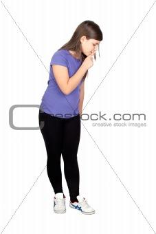 Adorable girl ordering silence