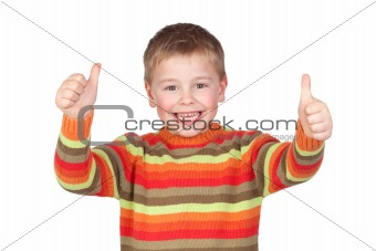 Adorable child with thumbs up