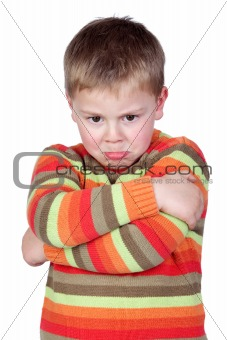 Angry child with crossed arm
