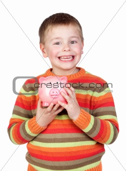 Adorable child with his piggy-bank