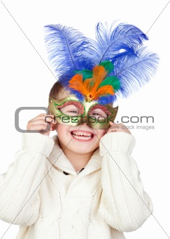 Adorable child with carnival mask
