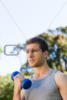 Man doing his exercises in the park