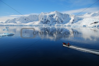 antarctic landscape and small boat