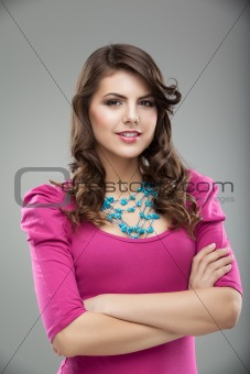 studio colorful portrait of a young woman, smiling