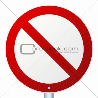 Blank round road sign isolated