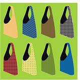 vector set of eight reusable shopping bags