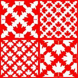 vector set of seamless maple leaf patterns