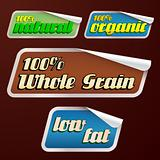 vector set of healthy food stickers