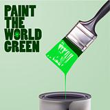 vector brush with green paint