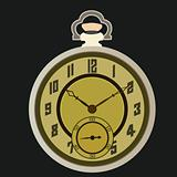 vector illustration of a vintage old pocket watch