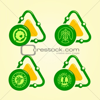 vector set of four tree awareness icons