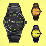 vector set of wrist watches
