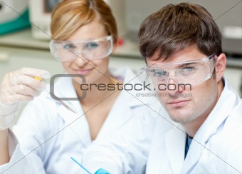 Two caucasian scientists doin