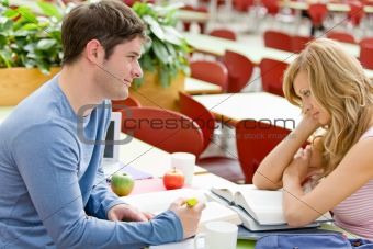 Portrait of two serious students working together in the cafeter